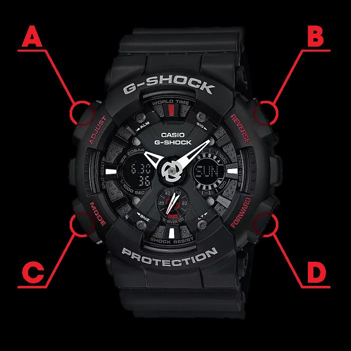 Các nút của đồng hồ G-Shock